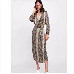 Zara Snake Wrap Dress SMALL